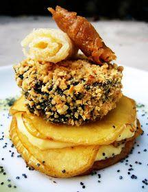 Las recetas de Lola:/ Crocanti de morcilla Rios sobre lasaña de manzana y queso/ con receta.