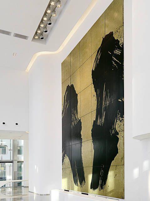 Fabienne Verdier La Faille 2014 Installation of a monumental painting in Majunga Tower, La Défense Paris