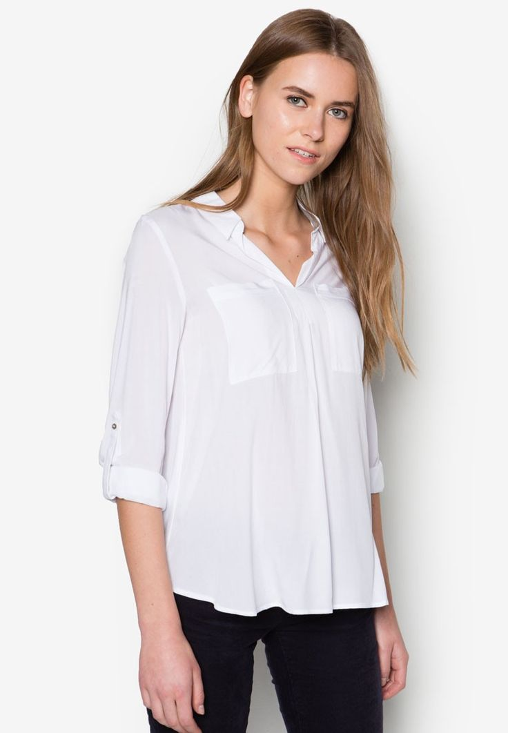 Buy Esprit Flowing Blouse with Jersey Details Online | ZALORA Malaysia