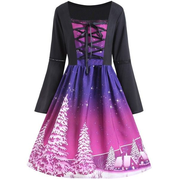 Purple XL Lace Up Christmas Tree Print Plus Size Dress (500 TWD) ❤ liked on Polyvore featuring dresses, purple print dress, womens plus dresses, lace-up dresses, pattern dress and purple dresses