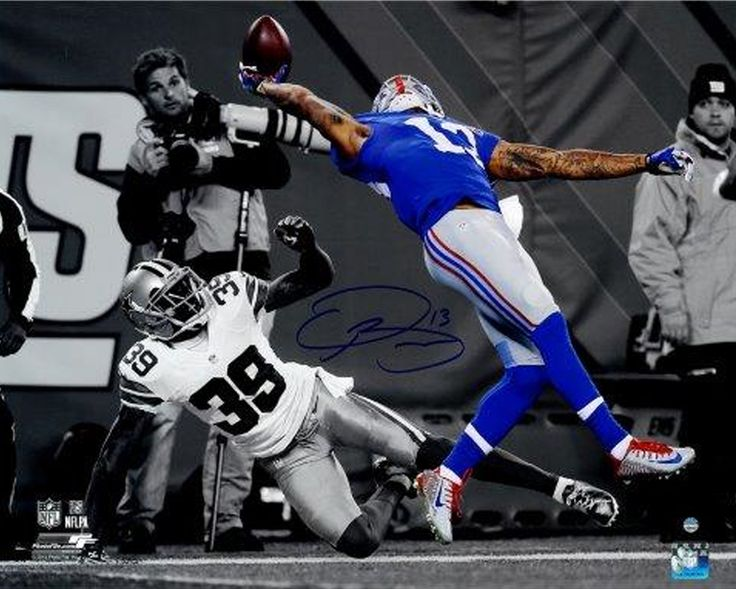 ODELL BECKHAM JR Hand Signed The Catch Photo Front View STEINER.