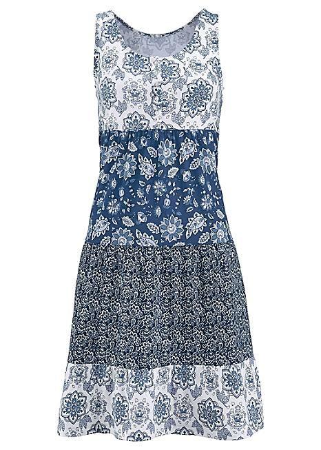 Indigo Floral Tiered Jersey Dress by John Baner JEANSWEAR