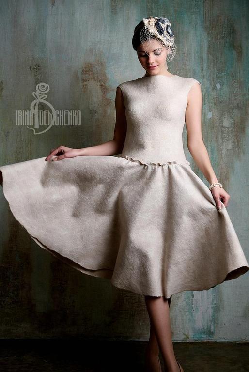 Купить Валяное платье «Nostalgia» - бежевый, свадьба, нежность, торжество, ирина…