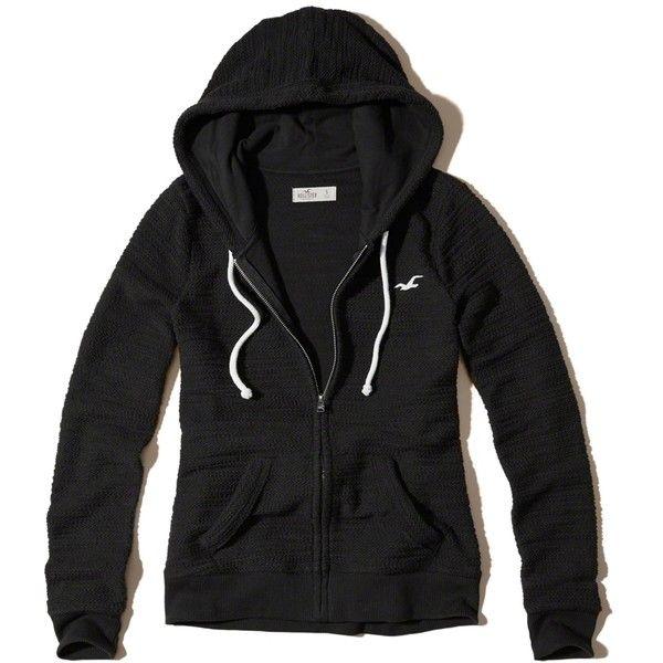 Hollister Full-Zip Boucle Icon Hoodie (£19) ❤ liked on Polyvore featuring tops, hoodies, jackets, outerwear, sweatter, black, hooded zip up sweatshirt, zip up hoodies, hollister co hoodies and sweatshirt hoodies
