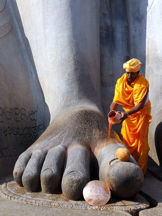 INDIA: Regular worship services are held at the Gomateshwara statue in Shravanabelagola.