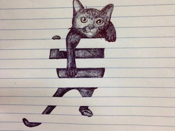 Clever drawing of cat intertwined in blinds. #art