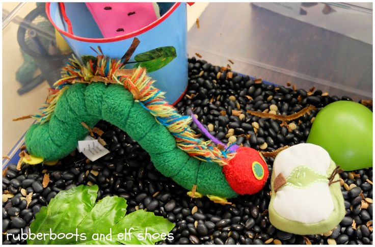 Extend The Very Hungry Caterpillar story with this easy to make sensory bin.