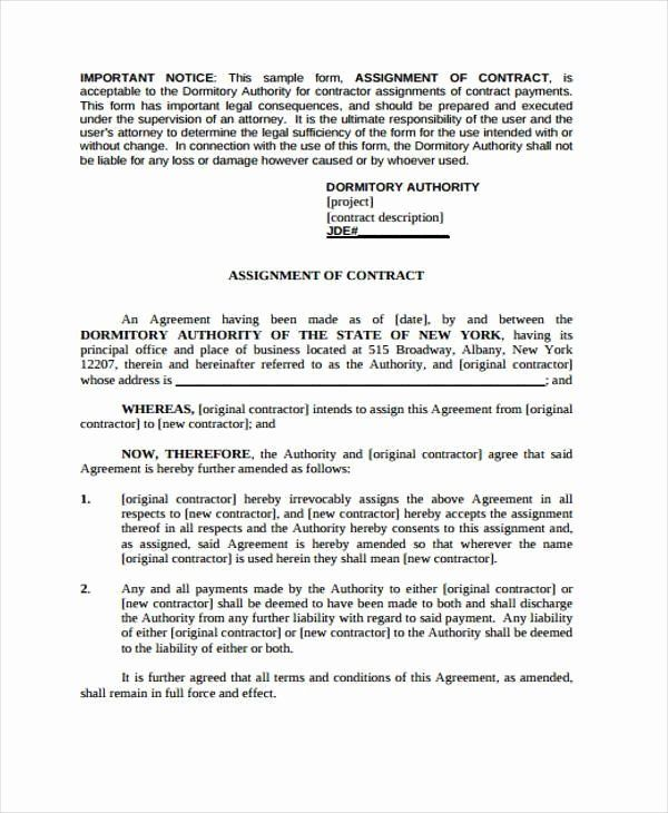 Assignment Of Contract Template New Free 7 Contract Assignment