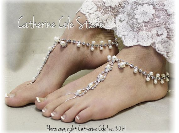 barefoot sandals crystal - bridal barefoot sandals - PARISIAN pearls rhinestones