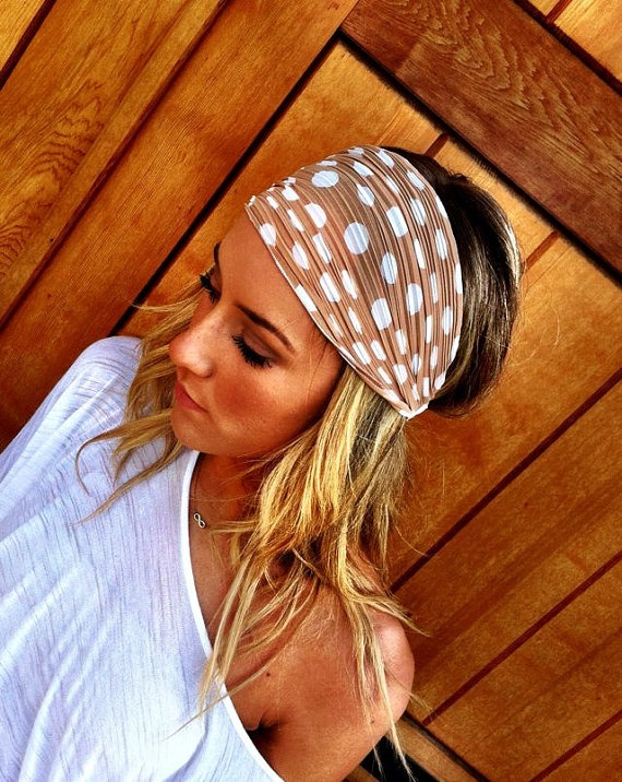 super cute etsy head scarfs  Polka Dot Head Wrap Stretchy Headband - Taupe Head Scarf Women's wide hair band urban turban head wrap headband. $19.50, via Etsy.
