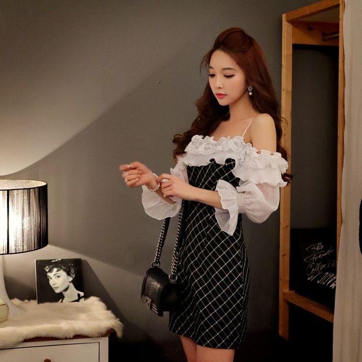 Dabuwawa слэш платье 2016 vestido черный плед оборками новый летний старинные сексуальные платья короткие розовая куклакупить в магазине DABUWAWA Trade Co.,LtdнаAliExpress