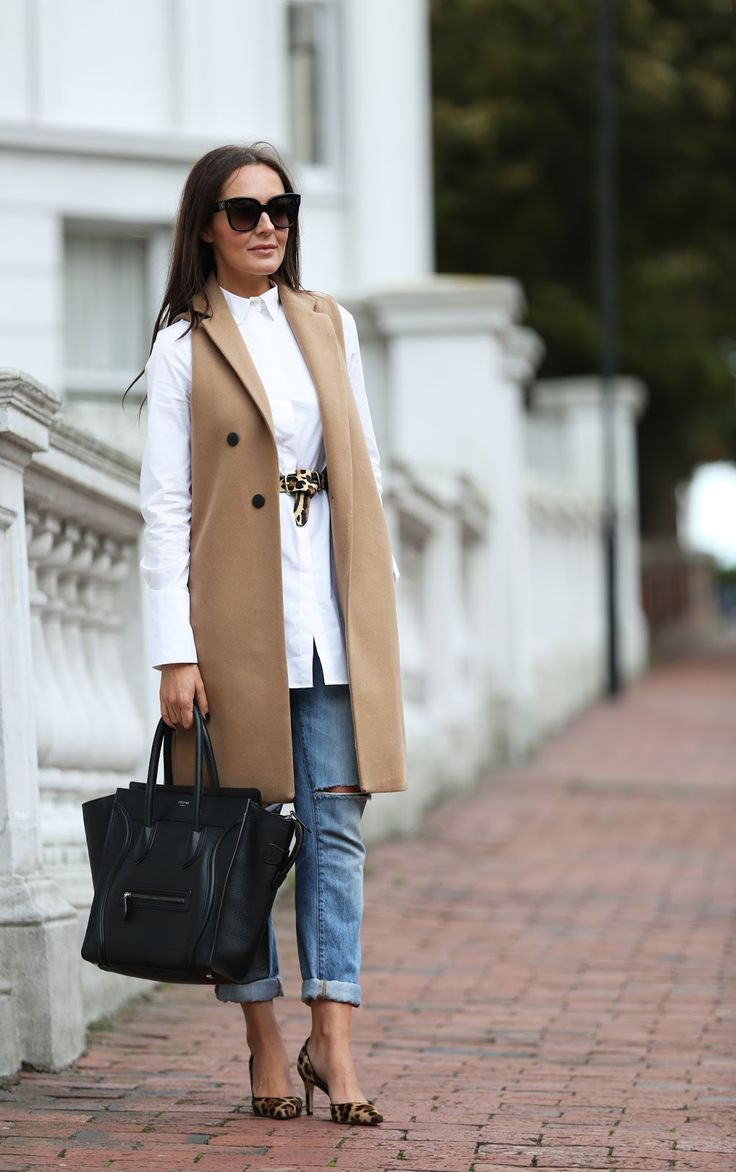 camel vest coat, long white shirt, boyfriend jeans
