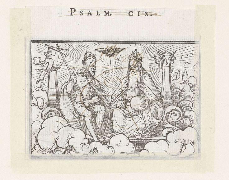 Hans Holbein (II) | Drieëenheid, Hans Holbein (II), Veit Rudolf Specklin, 1538 | Christus tronend met kruisvaandel naast God tussen zuilen in de hemel. Tussen hen in zweeft het symbool van de heilige Geest, een duif. In de marge boven de afbeelding staat de tekst Psalm CIX. De prent is beklad met pen in bruin.
