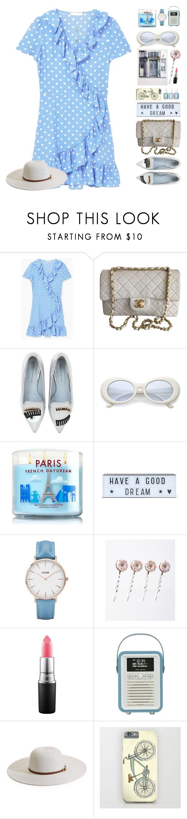 """Retro Chic"" by doga1 ❤ liked on Polyvore featuring Polaroid, MANGO, Chanel, Chiara Ferragni, A Little Lovely Company, CLUSE, MAC Cosmetics, Melissa Odabash, Gurhan and under100"