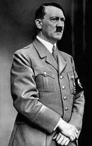Hitler, Adolf (Braunau-am-Inn 20 april 1889 – Berlijn 30 april 1945), Duits nationaal-socialistisch staatsman en dictator, was de zoon van Alois Schicklgruber, Oostenrijks douanebeambte, die eerst als buitenechtelijk kind de naam van zijn moeder droeg, maar zich sedert 1877 Hitler noemde, en diens nicht Klara Poelzl.