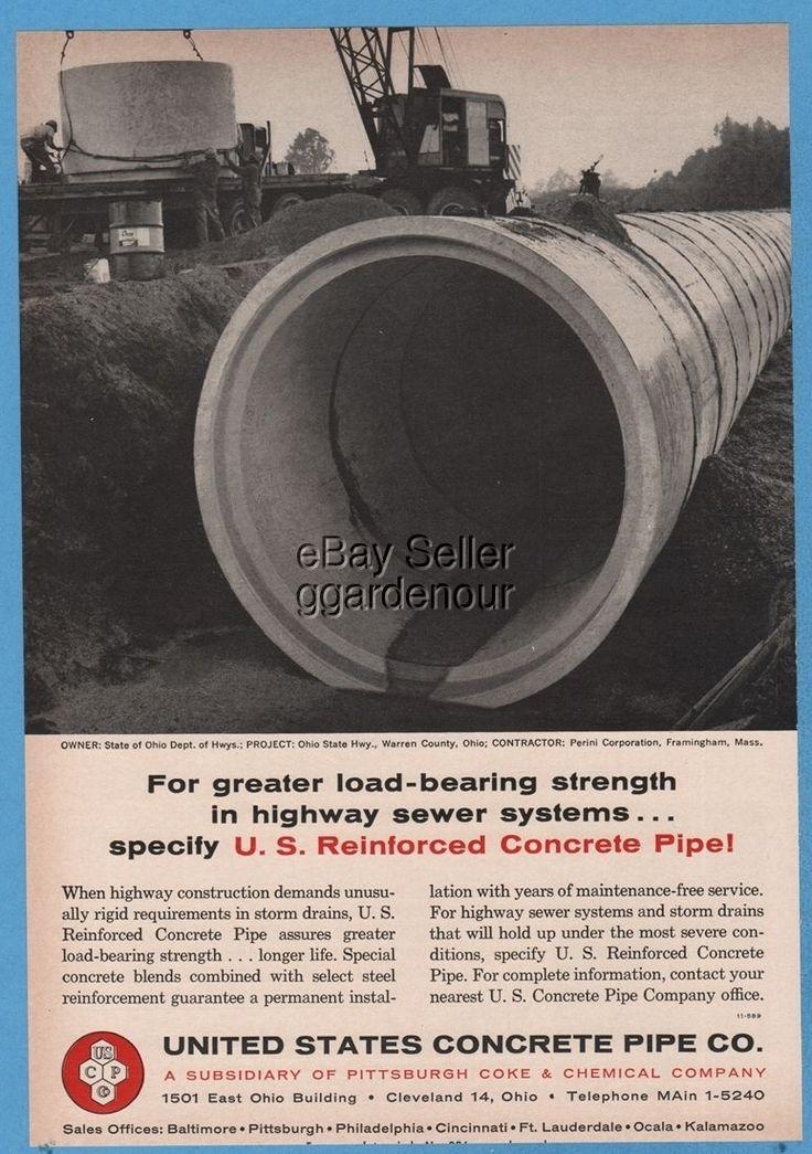 1964 United States Concrete Pipe Storm Drain Ohio ODOT Warren County Photo Ad | eBay