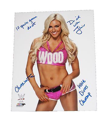 WWE CHARLOTTE HAND SIGNED AUTOGRAPHED 8X10 PHOTO FILE PHOTO INSCRIBED W/PROOF 3