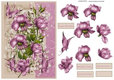 purple rose card with decoupage on Craftsuprint designed by Angela Wake - purple rose card with decoupage and sentiment tags a lovely card for lots of occasions - Now available for download!