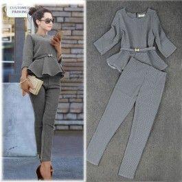 Damen Business Hosen Anzug mit Karo-Muster und Rüschen