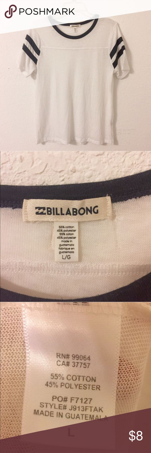Billabong varsity jersey tee Perfect casual jersey tee from Billabong! Super thin and super comfy. I'm usually a size small and love the look of this large size tee on me. Can fit anyone who's small, medium or large and looks super cute tied in a knot in the front. Has a small hole in the back near the tag at the top as seen in picture. Other than the hole there is no other damage or stains! Will model upon request. PacSun Tops Tees - Short Sleeve