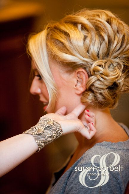 curly wedding hair, up do, side profile
