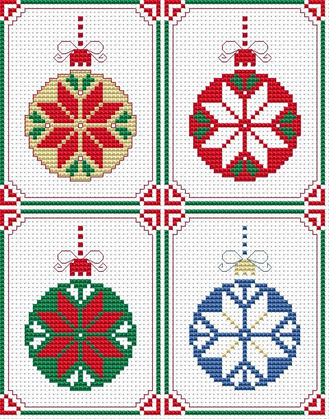 Set of 4 Christmas Cards free cross stitch pattern
