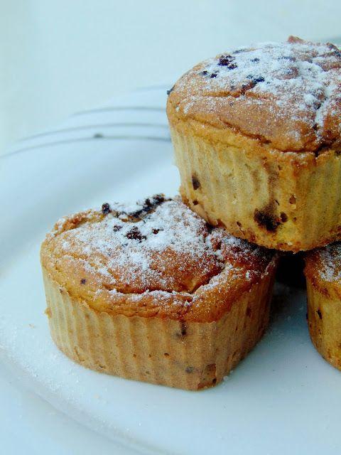 bezglutenowe Muffiny kawowe z ciecierzycy z gruszką