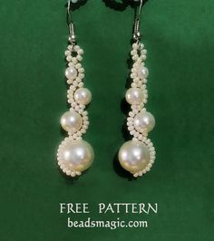 Free pattern for beaded earrings White Moon   U need: seed beads 11/0 pearls 4mm, 6mm, 8 mm, 10 mm
