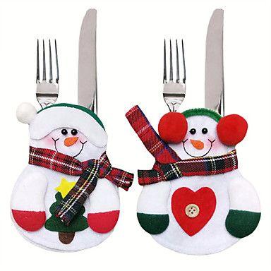 6db karácsony dekoráció szép hóember konyhai edények zsebbel vacsora evőeszköz táska party karácsonyi asztaldísz 5307154 2017 – $6.99