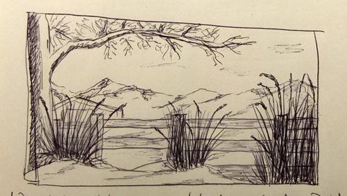 Ausschnitt aus meinem Skizzenbuch: Kugelschreiber Landschaft