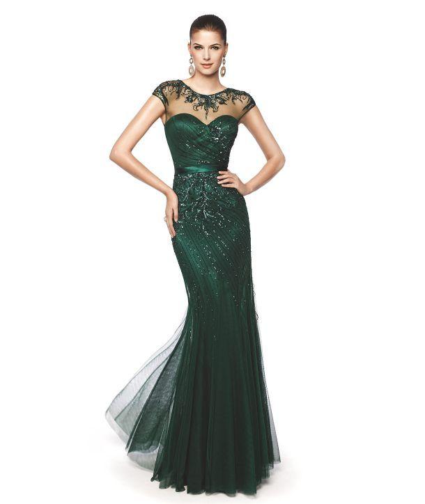 Vestido longo de renda verde escuro