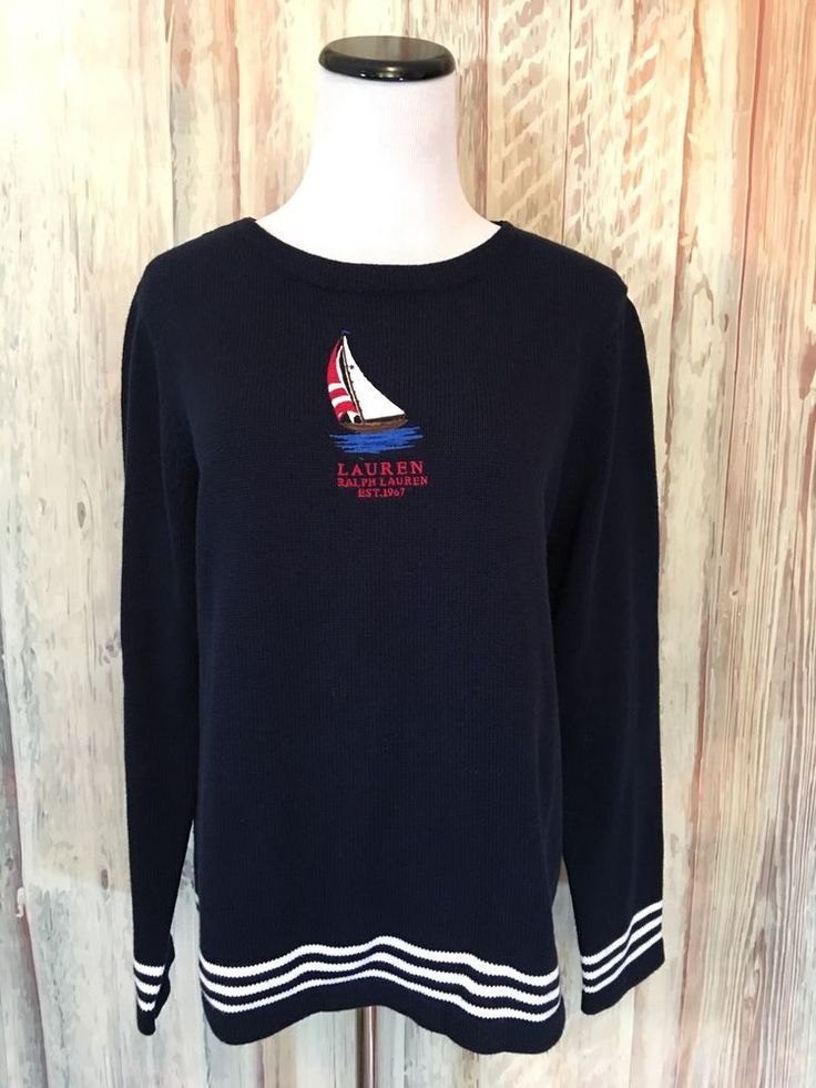 Lauren Ralph Lauren Petite Sweater Navy Nautical Sailboat Cotton Stripe P/M EUC! #RalphLauren #Cardigan