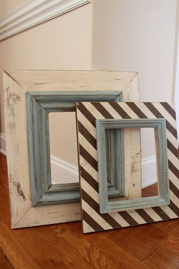 Love her distressed frames - she will be on Nate Berkus show in May!    8x10 Wide Wood Uber Distressed Wood Frame by deltagirlframes, $95.00