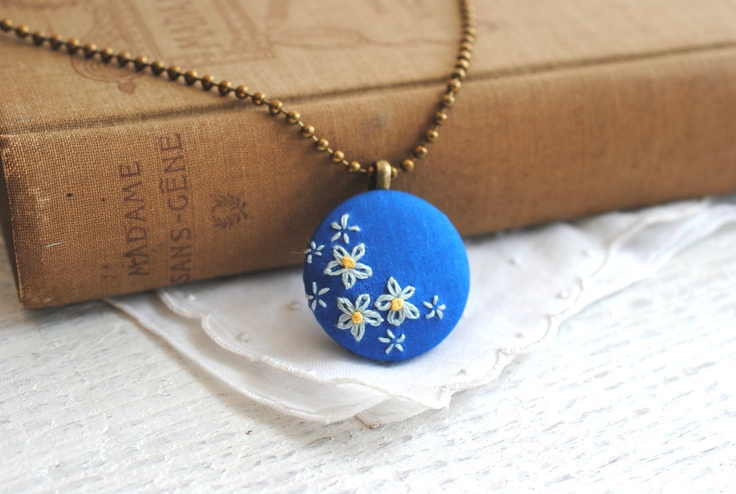Bright Blue Necklace, hand embroidered pendant, forget me not flowers, recycled silk