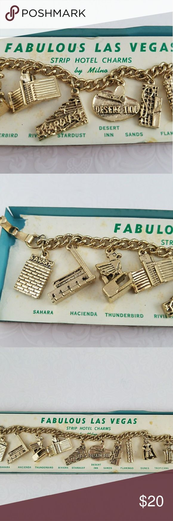 """60s """"Fabulous Las Vegas"""" Vintage Charm Bracelet Fabulous Las Vegas charm Bracelet. Charms with the big hotels from the sixties!  In original packaging!  A charm for each of the following hotels;  Sahara. Hacienda. Thunderbird. Riviera. Stardust. Desert Inn. Sands. Flamingo. Dunes. Tropicana.  A great reminder of the old glory days of Vegas  Please look at photos as this is part of the description and is the item you will be receiving. Vintage Jewelry Bracelets"""