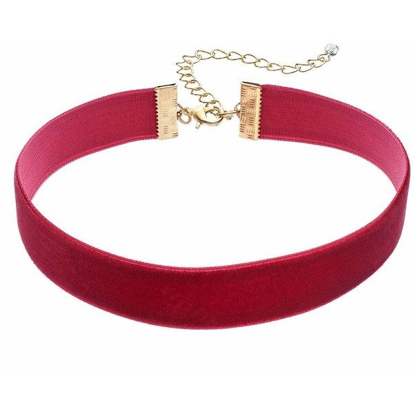 Velvet Ribbon Choker Necklace found on Polyvore featuring jewelry, necklaces, chokers, accessories, red, velvet jewelry, ribbon jewelry, lobster clasp necklace, ribbon choker and red choker