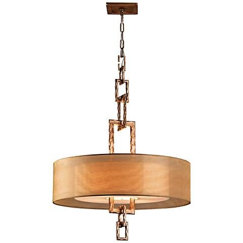 "Link Bronze Leaf 26""W 4-Light Hand-Forged Iron Chandelier"