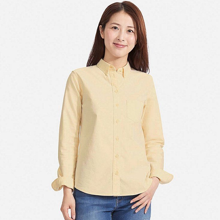 WOMEN OXFORD LONG-SLEEVE SHIRT, YELLOW, large