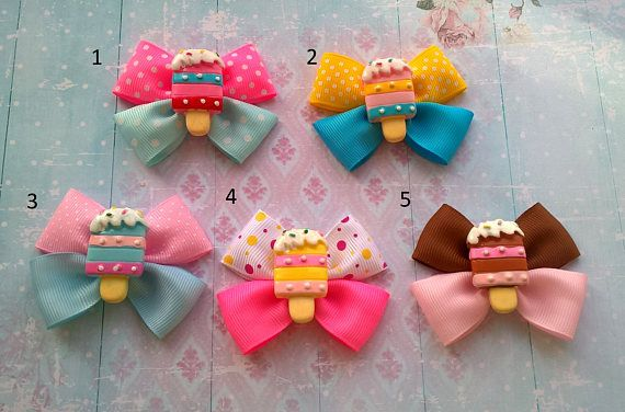 Ice cream bow Yummy ice cream Baby shower gift Mini bows