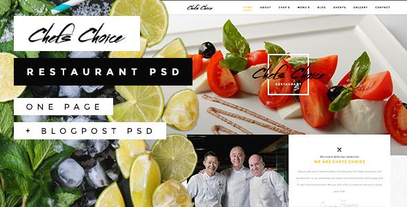 Chefs Choice - One Page Restaurant #PSD Template - Restaurants & Cafes Entertainment