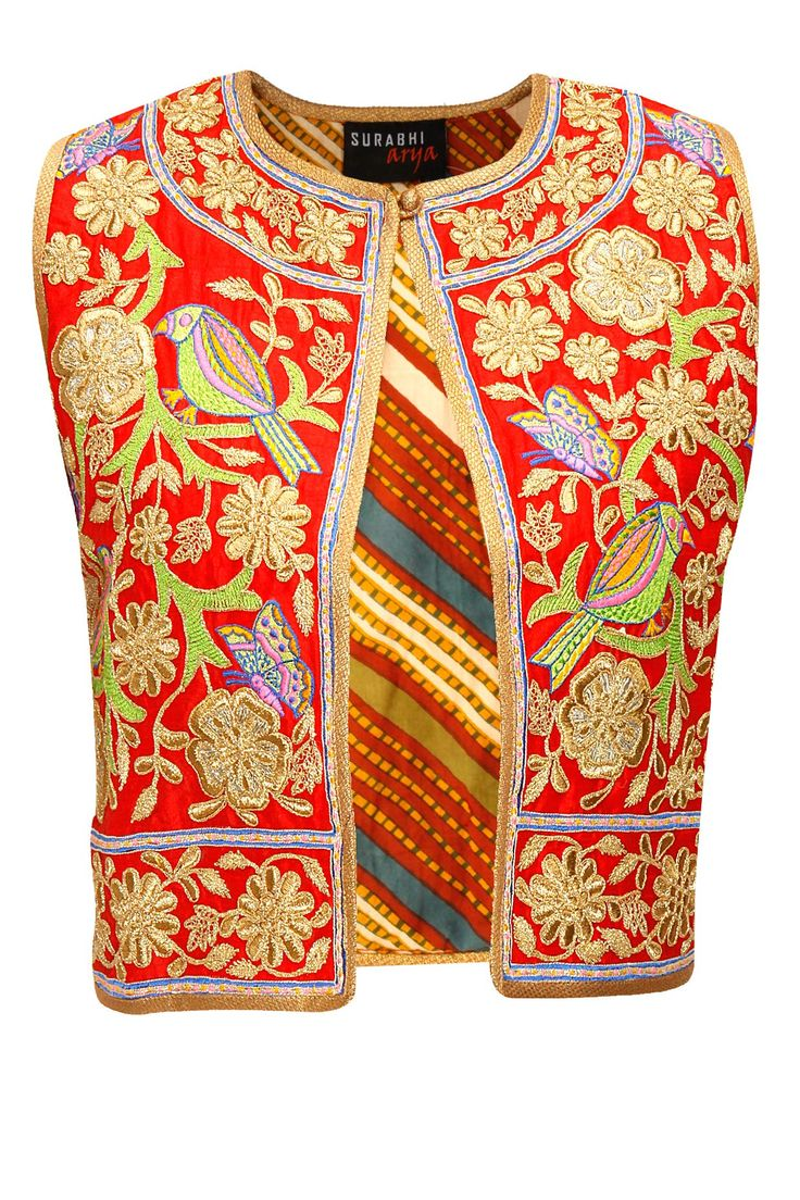 SURABHI ARYA Red thread embroidered butterfly jacket available only at Pernia's Pop-Up Shop.