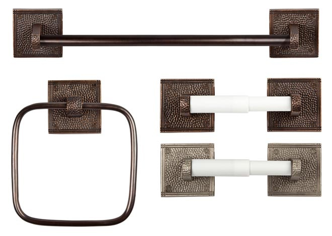 The Copper Factory Bathroom Accessories & Luxury Hardware include Toilet Tissue Holders, Single Towel Bars and Towel Rings handcrafted from native copper by experienced craftsmen to create durable, hygienic and above all, attractive product offerings that suit a variety of life styles and decor needs.