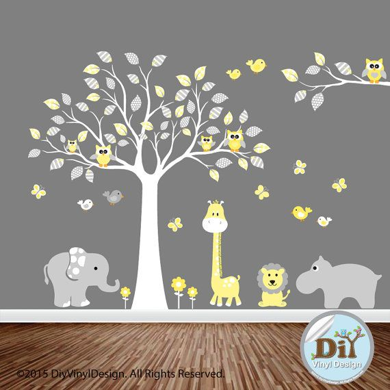 Yellow and Gray Jungle Animal Vinyl Tree Decal - Baby Wall Decal - Owl Themed Nursery - Vinyl Wall Art - Nursery Vinyl Wall Decal -  77151
