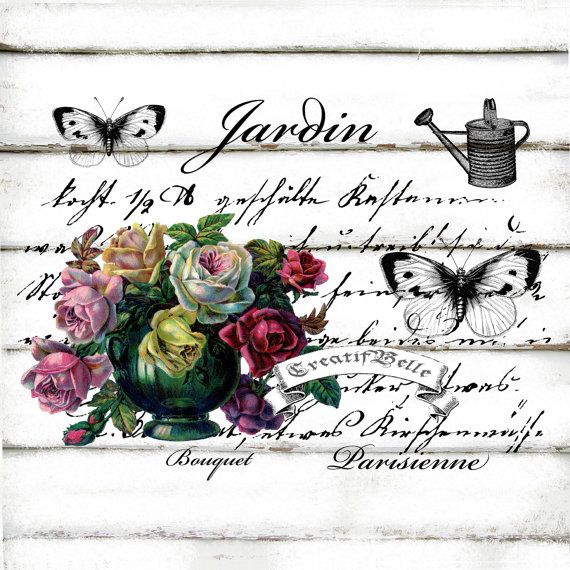 French Vintage Jardin Garden Roses A4 Instant by CreatifBelle