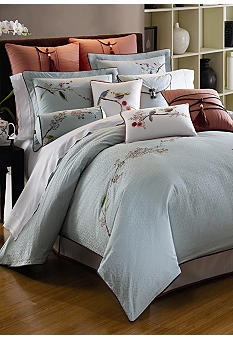 Lenox Chirp Queen Comforter Set, Blue, Soft Blues Are Accented With Warm  Corals To Create The Backdrop For This Whimsical Pattern.