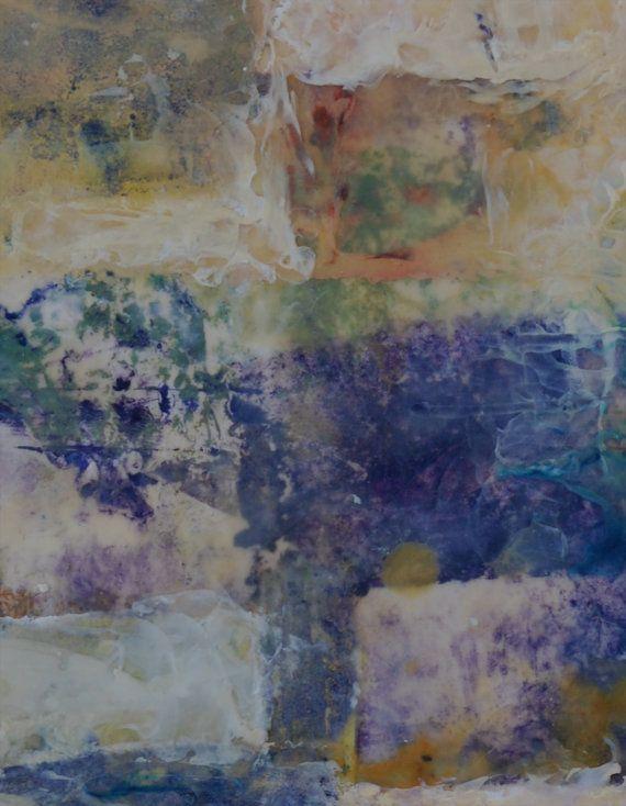 Encaustic collage art 'LAVENDER FIELD'' 10x10 studio