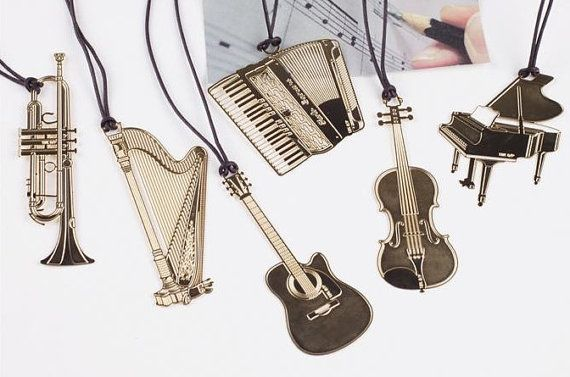Set of 6 PCS Paper Clips Musical Instrument Shaped Metal Bookmarks Cute Bookmarks korean stationery