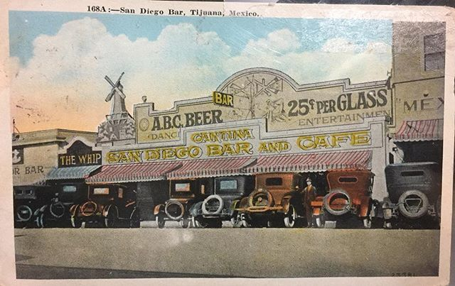 """One of our regulars just donated this postcard from the 1920's featuring Aztec Brewing Company at the """"San Diego Bar"""" in Tijuana, Mexico! #sandiego #sandiegoconnection #sdlocals #sandiegolocals - posted by Aztec Brewing Company https://www.instagram.com/aztecbrewery. See more San Diego Beer at http://sdconnection.com"""