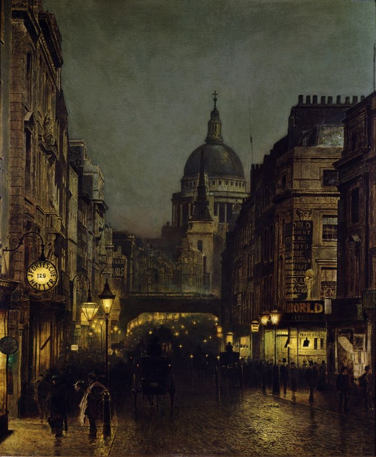 St Paul's from Ludgate Circus, 1885, John Atkinson Grimshaw.  La-clef-des-cœurs