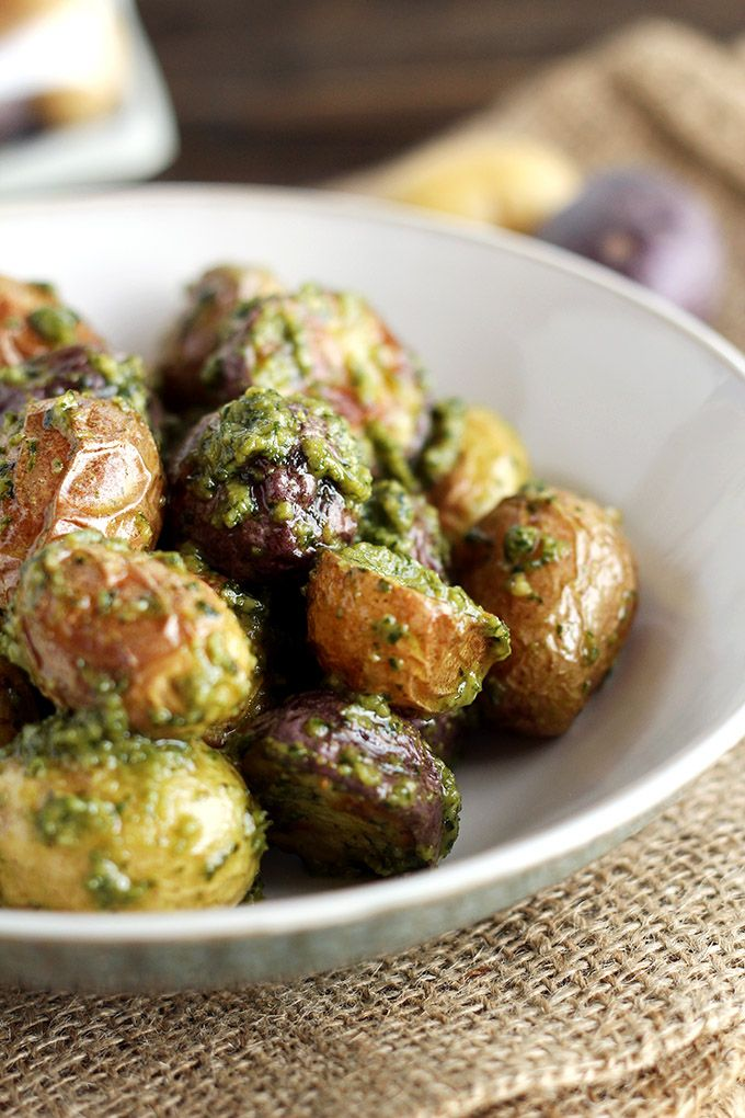 Easy Vegan Pesto Potatoes - ilovevegan.com